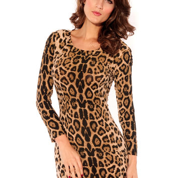 Leopard Long Sleeve Bodycon Mini Dress