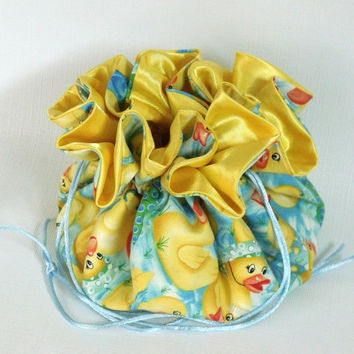 Jewelry Drawstring Bag, Travel Tote, Jewelry Drawstring Tote, Pouch Puddle Ducks Extra Large Large