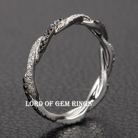 French Pave Clear/Black Diamond Wedding Band Eternity Anniversary Ring 14K White Gold Double twist Curve