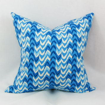 "Blue & creme decorative throw pillow cover. 20"" x 20"" pillow cover. Waverly pillow cover."
