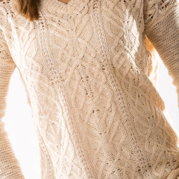 Lightweight Cable Sweater by Olive & Oak