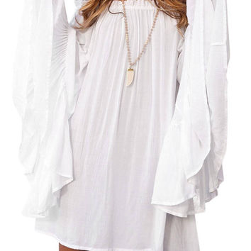 Swing Off The Shoulder Dress With Flared Sleeves
