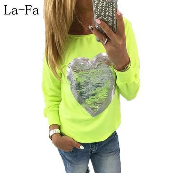 2016 Fashion Autumn Casual T Shirt Women Kawaii Sequin Tops Love Heart Shape Cute Pink Tshirt Blusa Long Sleeve Tee Clothing
