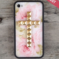 Cream Floral Gold Cross iPhone 4/4s Case | wildflower cases