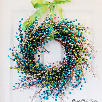 Green and Blue Glitter Berry Wreath, Front Door Wreath, Winter Wreath, Holiday Wreath