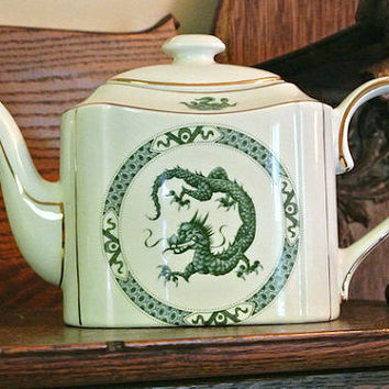Arthur Wood England Teapot Celadon the Dragon Oriental Asian Motif Gold Trim English Tea Pot British Pottery Green Dragon Collectible