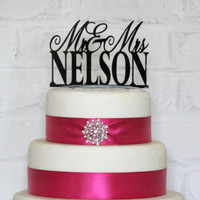 Personalized Custom Mr and Mrs Monogram Wedding Cake by ShopTheTop