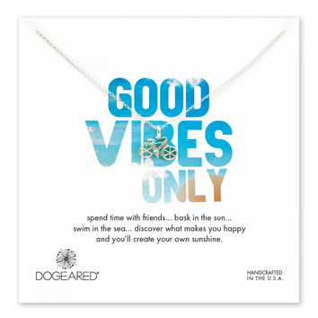 good vibes only bike necklace, sterling silver, 18 inch