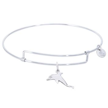Sterling Silver Pure Bangle Bracelet With Dolphin Charm