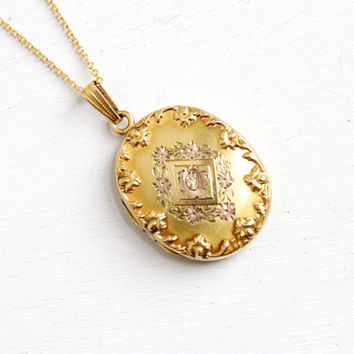 Antique 10k Gold Filled Art Deco Fl Re Locket 1920s 19