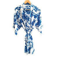 Blue Rose Floral Cotton Bridesmaid Robe