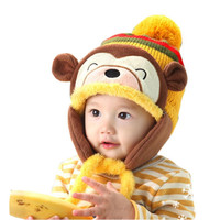 Lovely kids baby Hat Warm Kid Baby Girl Boy Ear Thick Knit Beanie Cap Hat Baby Beanies Accessories INY66