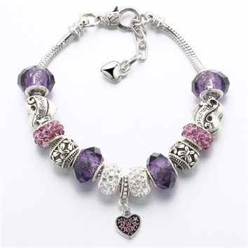 2017 Fashion DIY Love Heart Charms Bracelet with Crystal Glass Beads Snake Chain Bracelet for Women Pulseira Jewelry Vintage