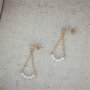 Handmade 14k Gold Pearl Earrings