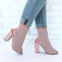 Ashanti Open Toe Bootie In Blush Fly Knit