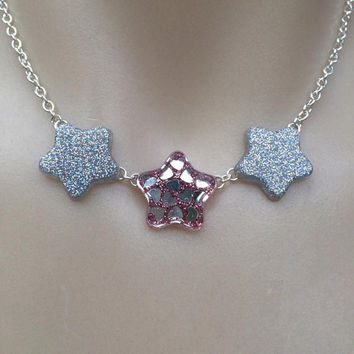 triplet magical star choker star necklace rose pink resin jewelry kawaii resin fairy kei harajuku cute jfashion pastel goth grundge princess