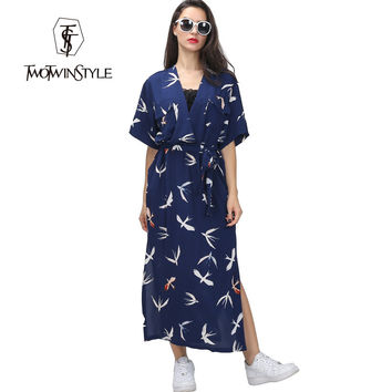 [TWOTWINSTYLE] Original Vintage Japanese Kimono Swallow Print Loose V Collar Long Slit Dress With Belt Sash Lace Up Waisted
