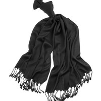 White House | Black MarketBlack Pashmina Fringe Scarf