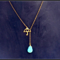 umbrella with turquoise raindrop necklace <3