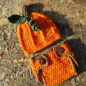 Crochet Newborn Pumpkin Outfit Baby Photo Prop