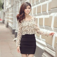 Polka Dots Tier Front Chiffon Pencil Dress