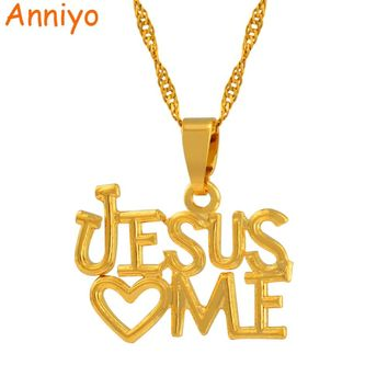 Anniyo Jesus Love Pendant and Necklaces for Women Great Jewelry Christ Savior Redeemer Deliverer Gold Color Chain #004610