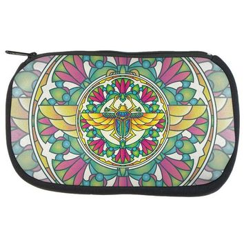 LMFCY8 Mandala Trippy Stained Glass Scarab Makeup Bag