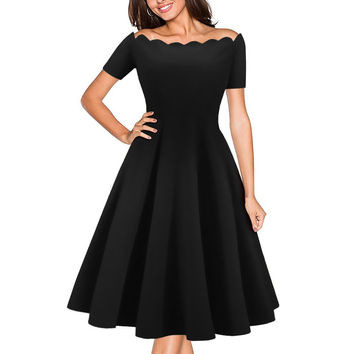 OWIN 2017 Vintage 50s Rockabilly For Woman Dress Off Shoulder Summer Black Red Slim Elegant Ladies Evening Party Dresses