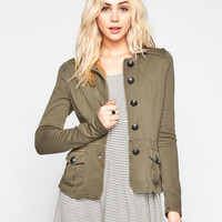 Others Follow Rose Womens Jacket Olive  In Sizes