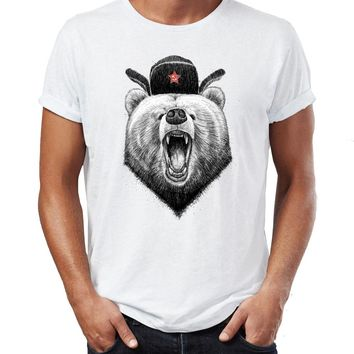 Men's T Shirt Angry Russian Bear Awesome Drawing Artsy Tee