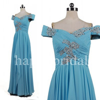 Long Ice Blue Beaded Prom Dresses Aline Chiffon Bridesmaid Dresses 2014 New Fashion Wedding Occcasions