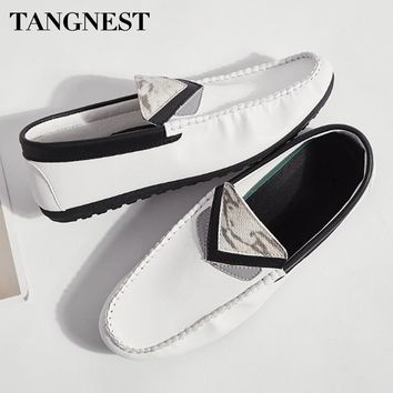 Tangnest Artificial Leather Men Loafers Fashion Mixed Color Flats Breathable Casual Shoes Men Driving Shoes For Spring XMR2777