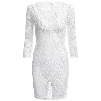 Sexy Plunging Neck Long Sleeve Pure Color See-through Hollow Out Lace Dress for Ladies