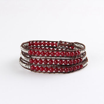 Red Mix Agate Wrap Bracelet