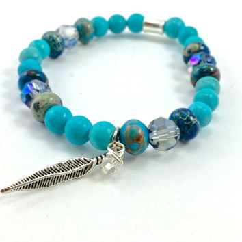Feather Bracelet, Yoga Inspired Bracelet, Gemstone Jewelry, Stackable Jewelry: Chalk Turquoise, Imperial Jasper & Genuine Quality Crystal