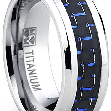 Men's Titanium Ring Wedding Engagement Band with Black and Blue Carbon Fiber Inlay, 8mm | FREE ENGRAVING