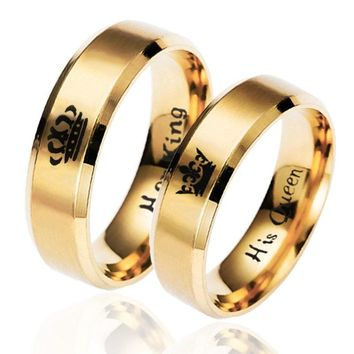 Cool 6mm Gold Ring Her Queen Her King Fashion Jewelry Dating For Couples Stainless Steel Women and menAT_93_12