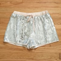 Sequin Happy Hour Shorts in Silver