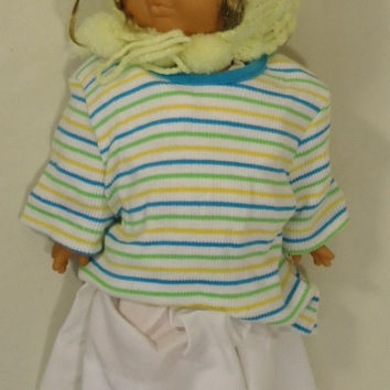 Generic 18-312fg Vintage Baby Doll with Crocheted Hat 18in Plastic Fabric -- Very Good