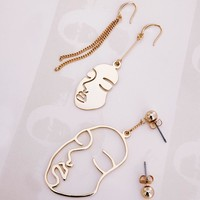 2017 New Stylish Asymmetrical Gold Tone Face Dangle Earrings For Women Chic Long Earrings boucles d'oreilles