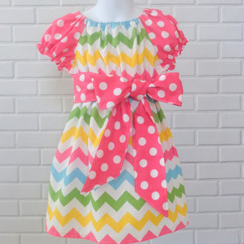 Girls Chevron Peasant Dress Pink Boutique Clothing By Lucky Lizzy's