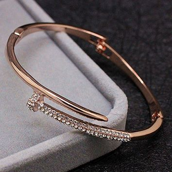 blucome Charm Rose gold color Nail Bangles For Women Men Jewelry Brand Rhinestone Crystal bangles bridal Bracelet bijoux