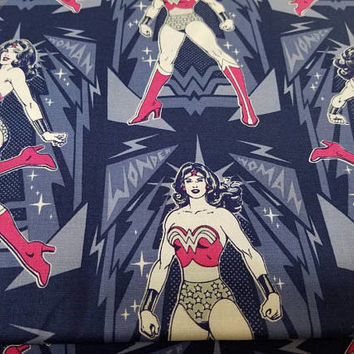 Wonder - woman - diana - prince - superhero - Camelot - fabric - cotton - quilting - dc - comics - print