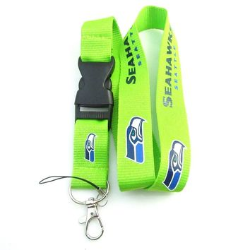 5pcs/lot Seattle Seahawks Neck Rope Lanyard Phone Key Holder Sweater Chain Pendant Necklace American Football Sport Jewelry