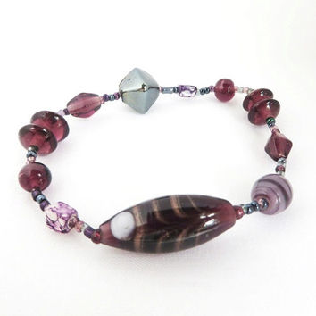 Vintage Murano Glass Bracelet Purple and Wine Art Glass Beads Italian Stretch Bracelet