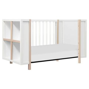 Babyletto Bingo 3-in-1 Convertible Crib and Storage Combo in White/Washed Natural