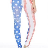 American Flag Leggings - Red