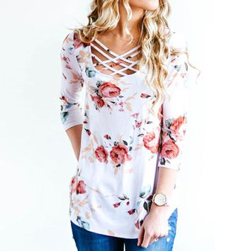 Lace Up Floral Shirts
