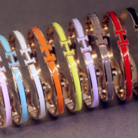 Hermes:Multi - color bracelet ladies candy color titanium steel gold - plated rose gold stainless steel bracelet