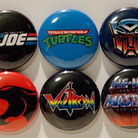 "Set of 6 80's Cartoon 1"" Pinback Buttons (Set #2)"